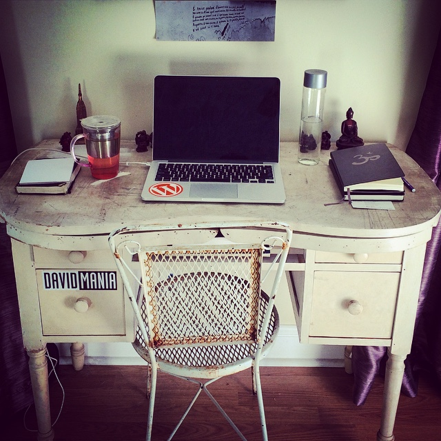All I need. I try to keep my desk as clear as possible, with just a few notebooks and a To Do list. And no, I don't sit in that chair all day.