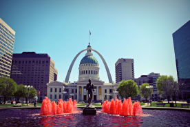 On the way to the Arch, the water in the fountain was dyed red for the Cardinals. At least, so I'm told.