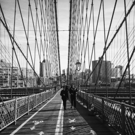 Pam and Deborah walking across the bridge.