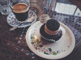 Vegan cupcakes and coffee at the Ramones Museum.