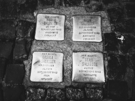 Stumbling Stones: brass pavers commemorating Jewish families who were taken to concentration camps during World War II.