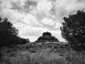 Bell Rock in black and white.