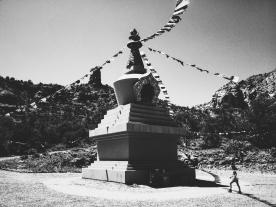 Walking around the stupa.