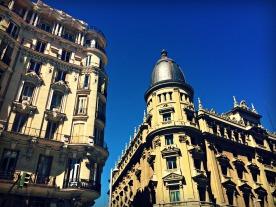 Walking down Gran Via in Madrid.