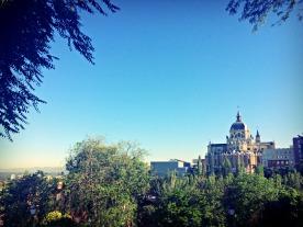 Walking to Google Campus near the Palacio Real.