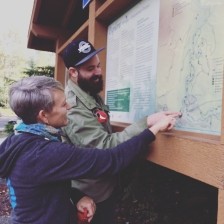 Trying to figure out the hike map with Karen and Ryan.